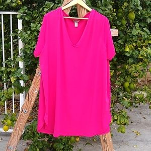 H&M V-Neck Tunic in Hot Pink. 2X